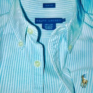 Polo Ralph Lauren Cotton Oxford Shirt, Aqua Stripe